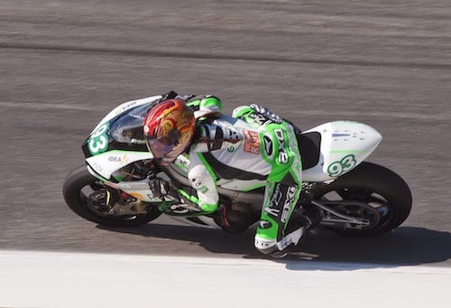 Shelina Moreda riding CRP's FIM e-Power entry at Laguna Seca, July 2010