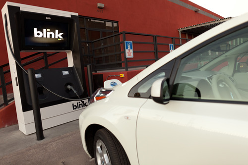 Nissan Leaf charging at Blink fast charging station