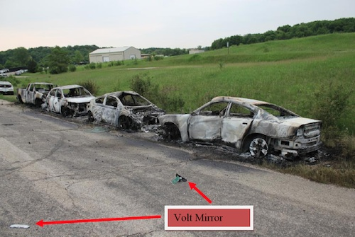 Parts of burnt Chevy Volt that were thrown by explosion