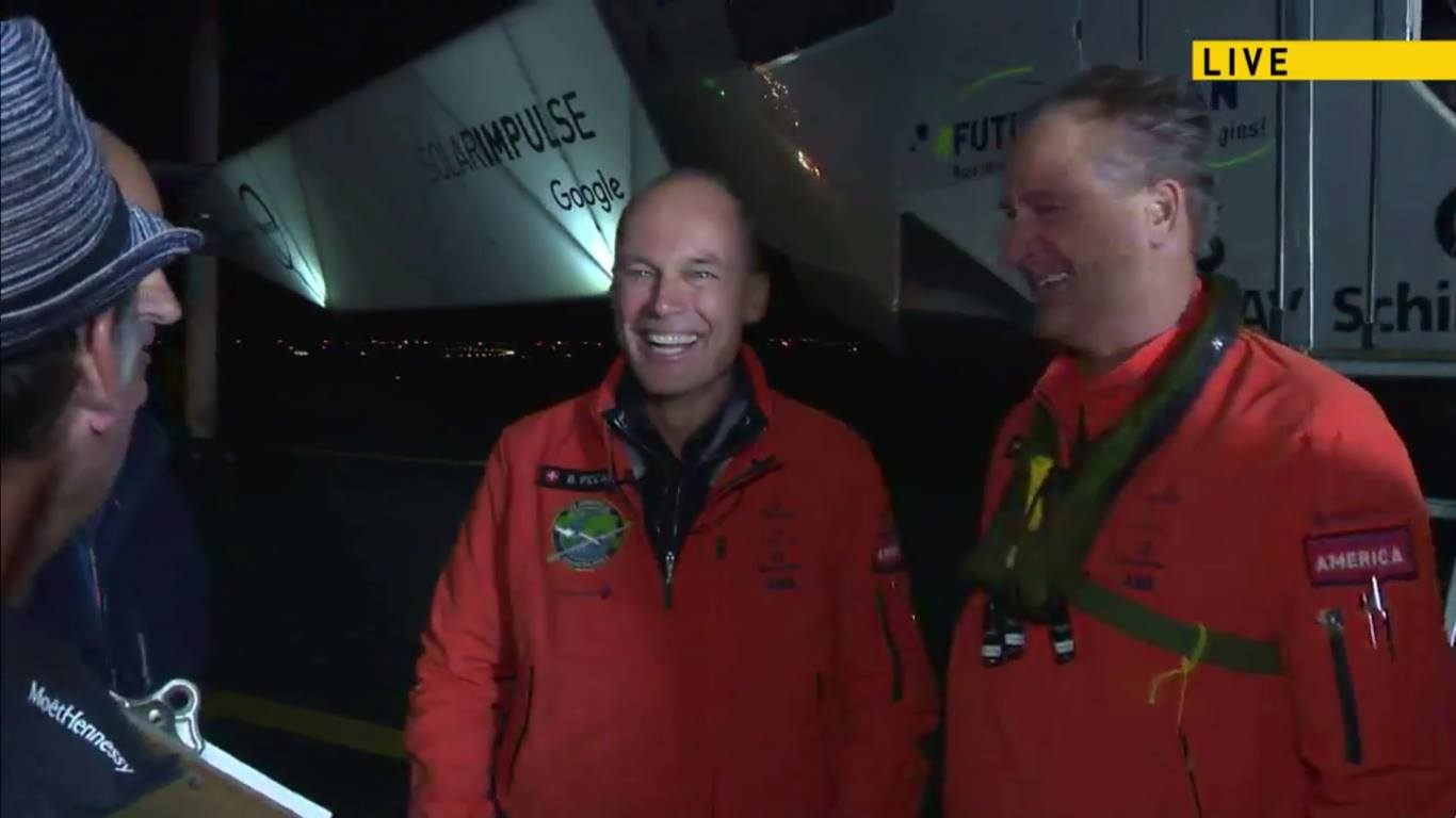 Bertrand Piccard and Andre Borschberg on the ground at JFK, courtesy of Solar Impulse Live Stream