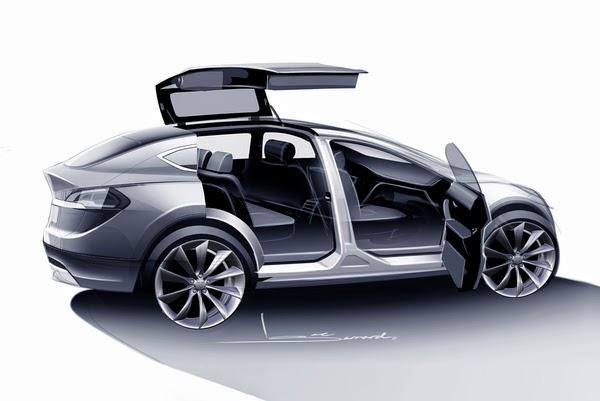 Tesla Model X sketch with falcon-wing doors