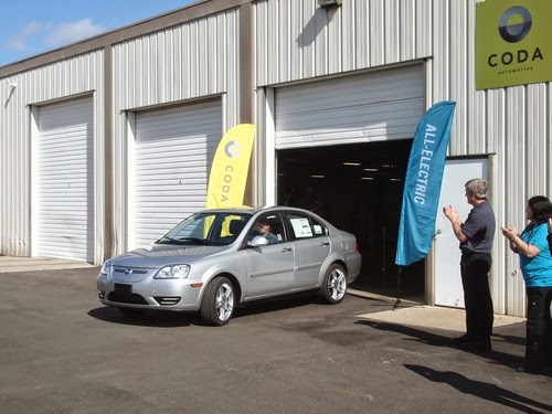 Coda electric sedan rolls out of delivery shed P3124169-web