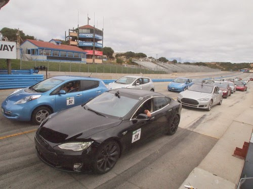 Electric cars line up at REFUEL 2012 starting line, Laguna Seca