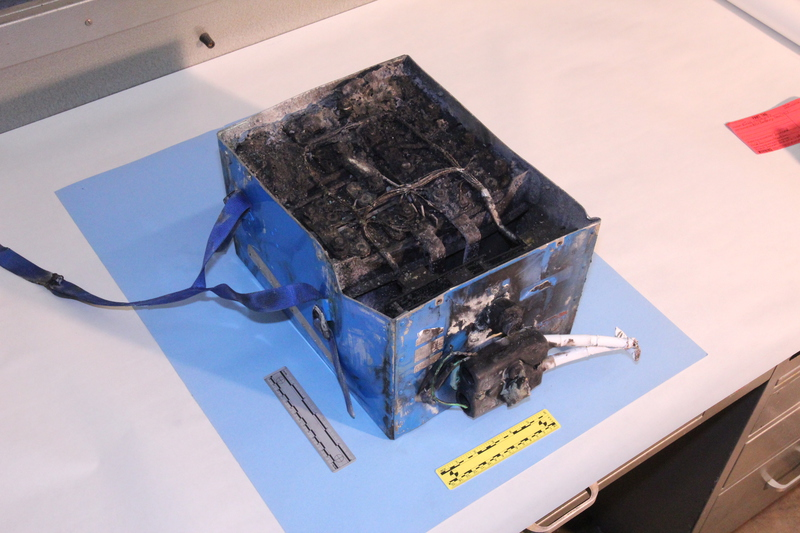 JAL787's APU Battery after it burned, causing the Dreamliners to be grounded