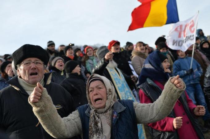 Villagers in Pungesti Romania protesting Chevron's plans to start Fracking