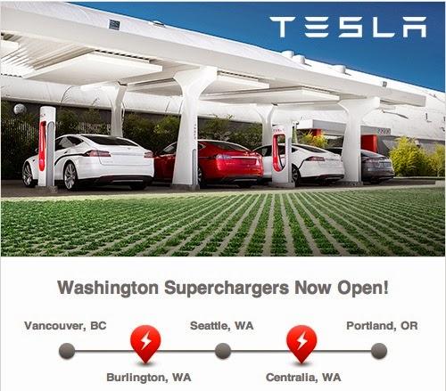 Tesla Motors Supercharger stations, integrating solar energy