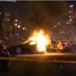 Stolen Tesla Model S in Hollywood, crashes after 100+ miles/hr police chase, splits in half, burns