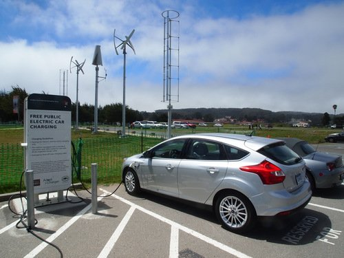 Ford Focus Electric charging at Crissy Field
