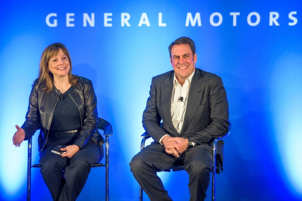 General Motors CEO Mary Barra and GM Executive Vice President of Global Product Development, Global Purchasing and Supply Chain Mark Reuss talk with media Thursday, October 1, 2015, before outlining the company's plans to capitalize on the future of personal mobility, before a conference of investors at the General Motors Milford Proving Grounds in Milford, Michigan. (Photo by Steve Fecht for General Motors)