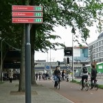 Utrecht adds new hi-tech signs for bicycle parking structures, helping cyclists know where to park their bikes
