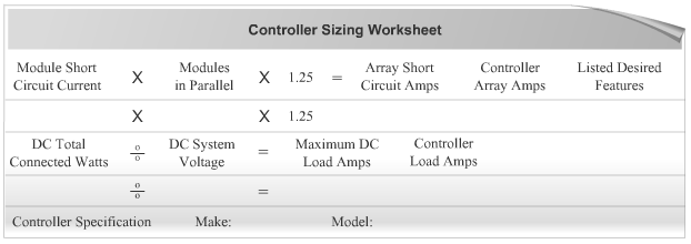 Charge Controller Sizing Worksheet
