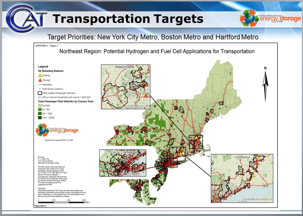 Projected Fuel Cell infrastructure for transportation in the Northeast