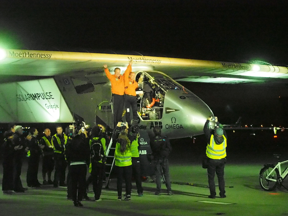 Upon emerging from the cockpit, Bertrand Piccard was met by family and team members, then there was a gaggle of Press activity