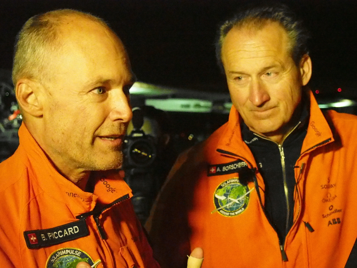 Bertrand Piccard and Andre Borschberg co-founded the Solar Impulse project years ago. Notice his stubble, probably not much time for shaving while flying. Bertrand Piccard seemed alert and happy even after sleeping very little for the last 3 days.