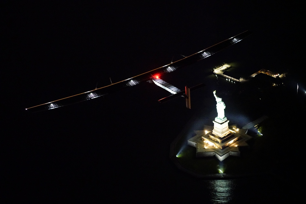 June 10th 2016: Andre Borschberg took off from Lehigh Valley to New York, the 14th leg of Round the World Journey and marks the final US leg. Departed from Abu Dhabi on march 9th 2015, the Round-the-World Solar Flight will take 500 flight hours and cover 35'000 km. Swiss founders and pilots, Bertrand Piccard and André Borschberg hope to demonstrate how pioneering spirit, innovation and clean technologies can change the world. The duo will take turns flying Solar Impulse 2, changing at each stop and will fly over the Arabian Sea, to India, to Myanmar, to China, across the Pacific Ocean, to the United States, over the Atlantic Ocean to Southern Europe or Northern Africa before finishing the journey by returning to the initial departure point. Landings will be made every few days to switch pilots and organize public events for governments, schools and universities.