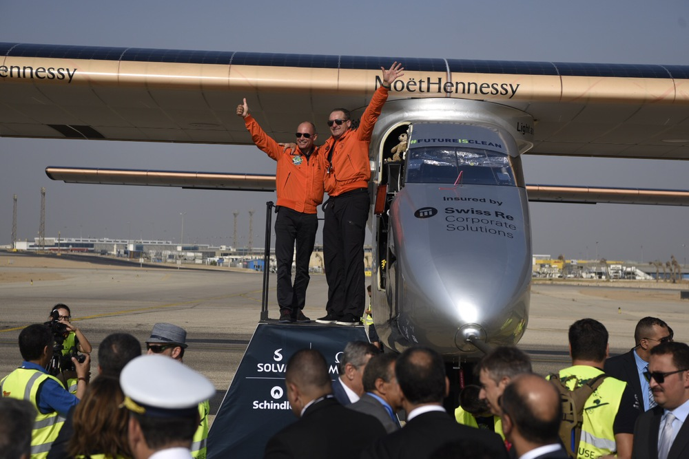 Bertrand Piccard and Andre Borschberg greeting the crowd in Cairo Egypt, following Andre's two-day flight from Spain.