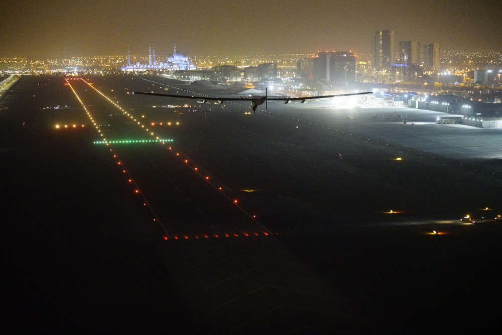 Abu Dhabi, UAE, July 27th 2016: Solar Impulse successfully landed in Abu Dhabi with Bertrand Piccard at the controls, completing the last leg of the Round-The-World journey. Departed from Abu Dhabi on march 9th 2015, the Round-the-World Solar Flight took more than 500 flight hours and covered 40'000 km. Swiss founders and pilots, Bertrand Piccard and André Borschberg aim to demonstrate how pioneering spirit, innovation and clean technologies can change the world. The duo took turns flying Solar Impulse 2, changing at each stop and will fly over the Arabian Sea, to India, to Myanmar, to China, across the Pacific Ocean, to the United States, over the Atlantic Ocean to Southern Europe or Northern Africa before finishing the journey by returning to the initial departure point.
