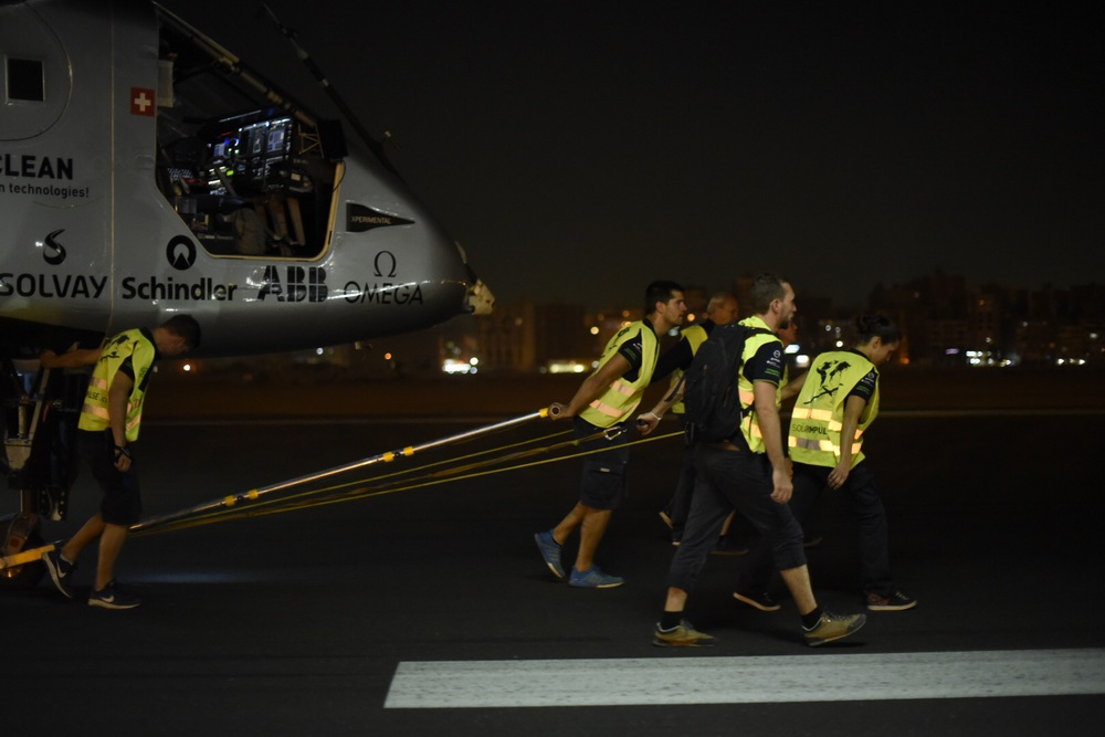 Cairo, Egypt, July 24 2016: Solar Impulse successfully took-off from Cairo with Bertrand Piccard at the controls. Departed from Abu Dhabi on march 9th 2015, the Round-the-World Solar Flight will take 500 flight hours and cover 35'000 km. Swiss founders and pilots, Bertrand Piccard and André Borschberg hope to demonstrate how pioneering spirit, innovation and clean technologies can change the world. The duo will take turns flying Solar Impulse 2, changing at each stop and will fly over the Arabian Sea, to India, to Myanmar, to China, across the Pacific Ocean, to the United States, over the Atlantic Ocean to Southern Europe or Northern Africa before finishing the journey by returning to the initial departure point. Landings will be made every few days to switch pilots and organize public events for governments, schools and universities.