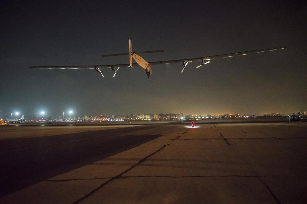 Solar Impulse taking off from Cairo on last leg of the aroun-the-world journey
