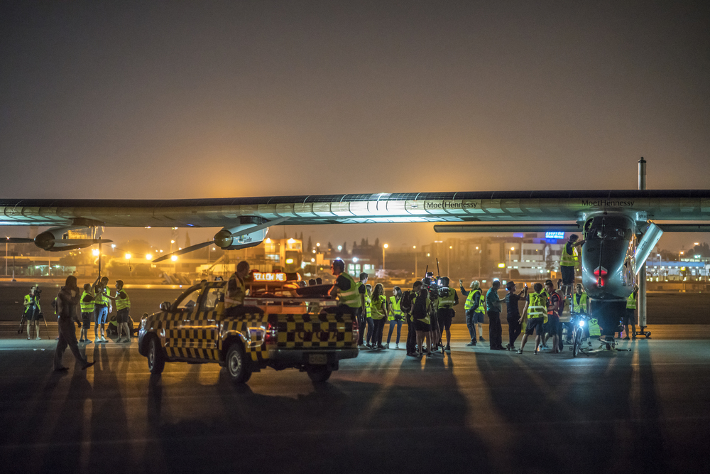 Cairo, Egypt, July 24th 2016: Solar Impulse took off from Cairo, and is headed toward Abu Dhabi for its final leg on the Round The Round Journey. Departed from Abu Dhabi on march 9th 2015, the Round-the-World Solar Flight will take 500 flight hours and cover 35'000 km. Swiss founders and pilots, Bertrand Piccard and André Borschberg hope to demonstrate how pioneering spirit, innovation and clean technologies can change the world. The duo will take turns flying Solar Impulse 2, changing at each stop and will fly over the Arabian Sea, to India, to Myanmar, to China, across the Pacific Ocean, to the United States, over the Atlantic Ocean to Southern Europe or Northern Africa before finishing the journey by returning to the initial departure point. Landings will be made every few days to switch pilots and organize public events for governments, schools and universities.